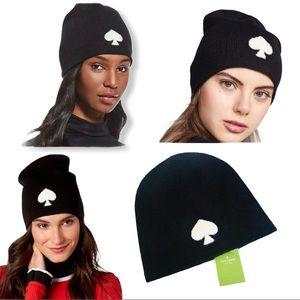 Kate Spade Black White Logo Wool Knit Hat Beanie